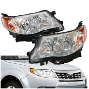 Pair For 2009-2013 Subaru Forester Clear Lens Headlight Replacement Lamp Lh And Rh