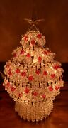 Vintage Light Up Safety Pin Christmas Tree Plastic Beads 10 Works Great