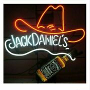 Jack Danielsand039s Bottle Cowboy Hat Real Neon Sign Beer Bar Light Artwork