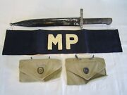 Vintage Wwii Ww2 Us Army Mp Military Police Armband With Ammo Pouches And Knife