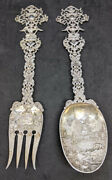 Holland Made - Very Figural / Decorated Silver Serving Fork And Spoon Set