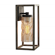 Motini Outdoor Wall Lantern Light Fixture Wood Finish Exterior Wall Sconce Porch