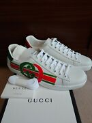 Authentic White Interlocking G New Ace Court Sneakers Mens Us 11/uk 10.5