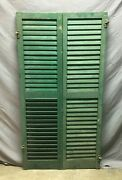 Pair Vtg House Window Wood Louvered Shutters Shabby Old Green Chic 15x58 634-21b