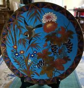 17th - 18th Century Chinese Cloisonne 12 Plate Charger Bird Bamboo Grapes