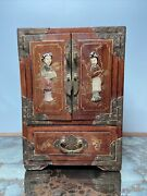 Antique Chinese Wood Brass Jewelry Box Cabinet Stone Pearl Inlay Vintage 10andrdquorare