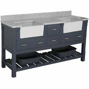 Kbc Charlotte 72 Marble Top Double Farmhouse Bathroom Vanity In Charcoal Gray