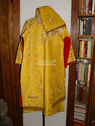 Gold Red Fabulous Roman Vestment Floral Embroidered Dalmatic Robe Stoles Burse
