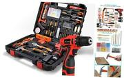 Cordless Hammer Drill Tool Kit 60pcs Household Power Tools Drill Set With