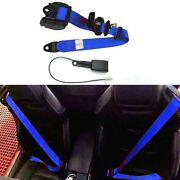 1x 3-point Retractable Car Seat Safety Belt Lap And Diagonal Belt And Warning Cable