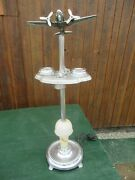 Art Deco Airplane Dc3 Chrome Smoking Ashtray 1940s Table 4 Cup Tray Room Lounge