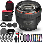 Canon Ef 85mm F/1.2l Ii Usm Lens Bundle +cleaning Kit Filter Kit And Padded Le