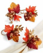 Martha Stewart Collection Fall Napkin Rings Set Of 4 Brown Orange Tablescape