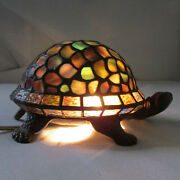 Vintage Cast Metal Turtle Tv Night Light With Multicolor Stained Glass Shell