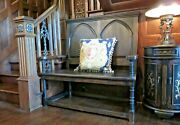 Gothic Bench Settee Carved Arches Black Stained Solid Wood Stately