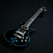 Zemaitis A24su Limited Blue Diamond Black W/ Blue Binding Made In Japan Y1322