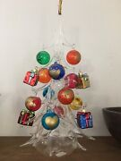 Soffieria Parise Italy Glass Christmas Tree 15 Ornaments And Angel Candle Holder