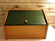 Vintage Lift Top Bread Box Wooden Farm House Country Kitchen Green Top Handmade