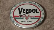 Vintage Veedol Motor Oil Thermometer Pam Clock Co. Inc New Rochelle, Ny Rare