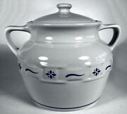 Longaberger Pottery Cookie Jar Canister Heritage Blue Woven Traditions Bean Pot.