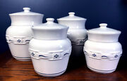 Longaberger Pottery Woven Traditions Canister Set Of 4 Heritage Blue