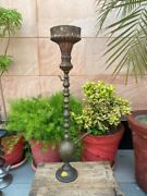 Vintage Rare Islamic Persian Mughal Hookah Brass Hand Carved Floral Iron Chillum