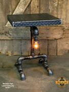 Steampunk Industrial Machine Age Lamp Table Stand Console Dimond Plate