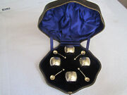 London Birmingham Sterling Silver Condiment Set - Salts - Spoons And Leather Case