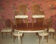 Karges French Regency Louis Xv Dining Table Set And 6 Matching Carved Chairs