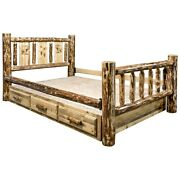 King Platform Storage Bed With Drawers Rustic Log Laser Western Unique