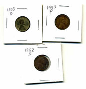 1953 Pds Wheat Pennies Lincoln Cents Circulated 2x2 Flips 3 Coin Pds Set3686