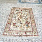 Yilong 4and039x6and039 Hunting Scene Handknotted Silk Carpet Home Decor Classic Rug Z476a