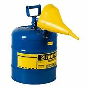 Justrite 7150310 Type I Galvanized Steel Kerosene Safety Can With Funnels Val...