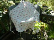 Shabby Cottage Chic Quilted Apron Pink Rose Cottage White Adjustable 100 Cotton