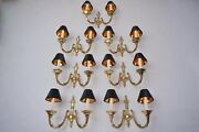 Brass Wall Lights Set Of Seven In The Neoclassical Style 1950`s Ca English