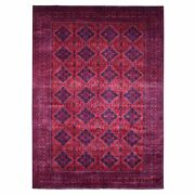 8'2x11'4 Hand Knotted Saturated Red Wool Afghan Khamyab Design Rug G67788