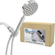 All Metal Hand Held Shower Head With Hose And Holder, Polished Chrome   2.5 Gpm