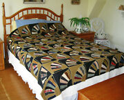 Lovely Antique Hand Made Fan Quilt Top With Feather Stitching 84 X 76