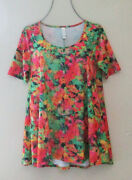 Nwot Lularoe Abstract Bouquet Perfect T Short Sleeve Knit Top Tee Size S