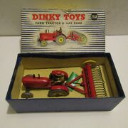 Vintage Dinky Toys Die Cast Vehicle Farm Tractor Hay Rake 27ak Boxed With Insert
