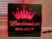 Vintage Budweiser Select Neon Light Up Beer Sign 23-1/2andrdquo X 23-1/2andrdquo X 3andrdquo