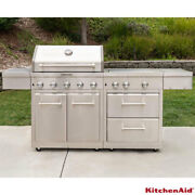 Kitchenaid Gas Barbecue Grill 8 Burner Mini Island In Stainless Steel + Cover