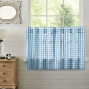 New French Country Cottage White Blue Check Cafe Tiers Curtains 36