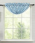 New French Country Cottage Blue Check Balloon Valance Topper Curtains