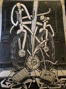 Timothy Curtis Art Print Caught In The Twist Ghostbike Le 35 Hand Embellished