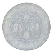 9and0399x9and0399 Round Silver Wash Peshawar Star Design Hand Knotted Wool Rug G67882