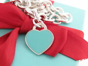 And Co Silver Blue Enamel Return To Heart Tag Necklace 18