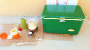 Rare Vtg Thermos Genie Green Metal Ice Chest Cooler With 2 Bottle Openers