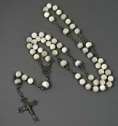 19c.antique French Rosary Sterling Silver Crucifix Caped Mop Ave Maria 5 Decades