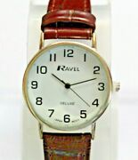 Ravel Deluxe Wrist Watch With Guarantee - Uk Stock - Brown Leather Strap Chrome